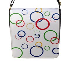 Circle Round Green Blue Red Pink Yellow Flap Messenger Bag (L)