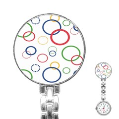 Circle Round Green Blue Red Pink Yellow Stainless Steel Nurses Watch
