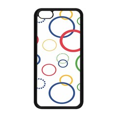 Circle Round Green Blue Red Pink Yellow Apple iPhone 5C Seamless Case (Black)