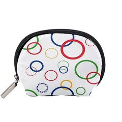 Circle Round Green Blue Red Pink Yellow Accessory Pouches (Small)