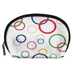 Circle Round Green Blue Red Pink Yellow Accessory Pouches (Large)