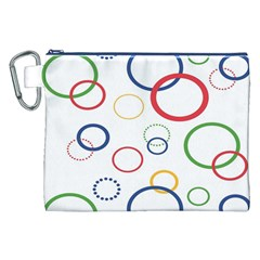 Circle Round Green Blue Red Pink Yellow Canvas Cosmetic Bag (XXL)