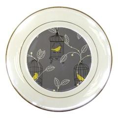 Cagr Bird Leaf Grey Yellow Porcelain Plates