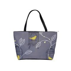 Cagr Bird Leaf Grey Yellow Shoulder Handbags