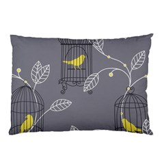 Cagr Bird Leaf Grey Yellow Pillow Case (Two Sides)