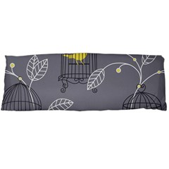 Cagr Bird Leaf Grey Yellow Body Pillow Case (Dakimakura)