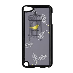 Cagr Bird Leaf Grey Yellow Apple iPod Touch 5 Case (Black)