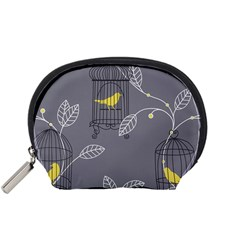 Cagr Bird Leaf Grey Yellow Accessory Pouches (Small)