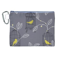 Cagr Bird Leaf Grey Yellow Canvas Cosmetic Bag (XXL)