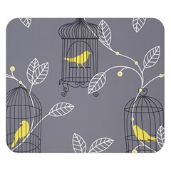Cagr Bird Leaf Grey Yellow Double Sided Flano Blanket (Small)