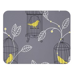 Cagr Bird Leaf Grey Yellow Double Sided Flano Blanket (large)