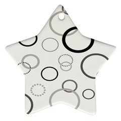 Circle Round Black Grey Star Ornament (Two Sides)