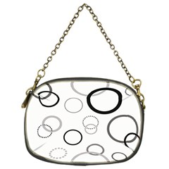 Circle Round Black Grey Chain Purses (One Side)