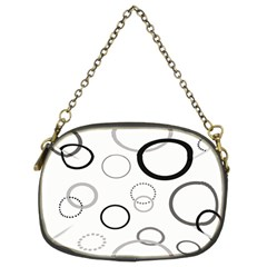 Circle Round Black Grey Chain Purses (Two Sides)