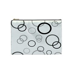 Circle Round Black Grey Cosmetic Bag (Medium)