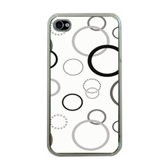 Circle Round Black Grey Apple iPhone 4 Case (Clear)