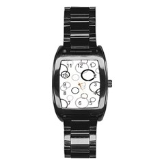 Circle Round Black Grey Stainless Steel Barrel Watch