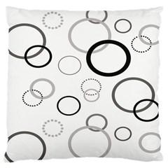 Circle Round Black Grey Large Flano Cushion Case (One Side)