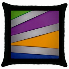 Colorful Geometry Shapes Line Green Grey Pirple Yellow Blue Throw Pillow Case (Black)
