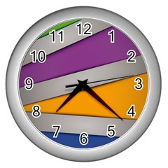 Colorful Geometry Shapes Line Green Grey Pirple Yellow Blue Wall Clocks (Silver)