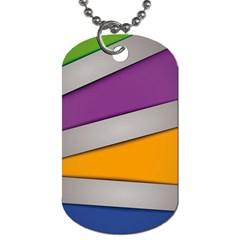 Colorful Geometry Shapes Line Green Grey Pirple Yellow Blue Dog Tag (Two Sides)