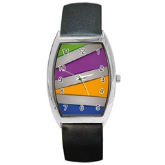 Colorful Geometry Shapes Line Green Grey Pirple Yellow Blue Barrel Style Metal Watch