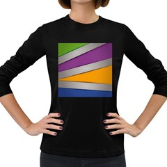 Colorful Geometry Shapes Line Green Grey Pirple Yellow Blue Women s Long Sleeve Dark T-Shirts