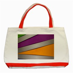 Colorful Geometry Shapes Line Green Grey Pirple Yellow Blue Classic Tote Bag (Red)