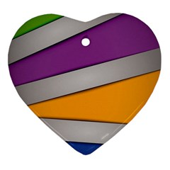 Colorful Geometry Shapes Line Green Grey Pirple Yellow Blue Heart Ornament (Two Sides)
