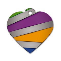 Colorful Geometry Shapes Line Green Grey Pirple Yellow Blue Dog Tag Heart (Two Sides)