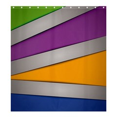 Colorful Geometry Shapes Line Green Grey Pirple Yellow Blue Shower Curtain 66  x 72  (Large)