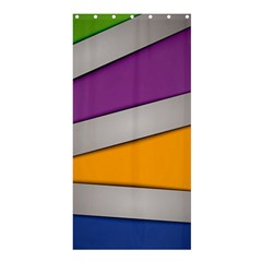 Colorful Geometry Shapes Line Green Grey Pirple Yellow Blue Shower Curtain 36  x 72  (Stall)