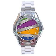 Colorful Geometry Shapes Line Green Grey Pirple Yellow Blue Stainless Steel Analogue Watch