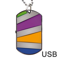 Colorful Geometry Shapes Line Green Grey Pirple Yellow Blue Dog Tag USB Flash (One Side)