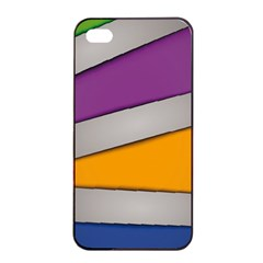 Colorful Geometry Shapes Line Green Grey Pirple Yellow Blue Apple iPhone 4/4s Seamless Case (Black)
