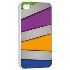 Colorful Geometry Shapes Line Green Grey Pirple Yellow Blue Apple iPhone 4/4s Seamless Case (White)