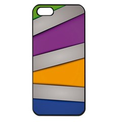 Colorful Geometry Shapes Line Green Grey Pirple Yellow Blue Apple iPhone 5 Seamless Case (Black)