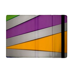Colorful Geometry Shapes Line Green Grey Pirple Yellow Blue Apple iPad Mini Flip Case