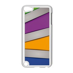 Colorful Geometry Shapes Line Green Grey Pirple Yellow Blue Apple iPod Touch 5 Case (White)