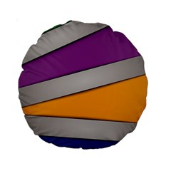 Colorful Geometry Shapes Line Green Grey Pirple Yellow Blue Standard 15  Premium Round Cushions