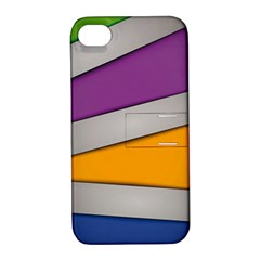 Colorful Geometry Shapes Line Green Grey Pirple Yellow Blue Apple iPhone 4/4S Hardshell Case with Stand