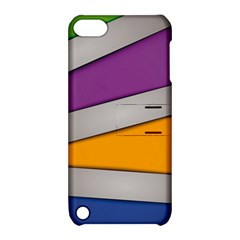 Colorful Geometry Shapes Line Green Grey Pirple Yellow Blue Apple iPod Touch 5 Hardshell Case with Stand