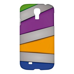 Colorful Geometry Shapes Line Green Grey Pirple Yellow Blue Samsung Galaxy S4 I9500/I9505 Hardshell Case