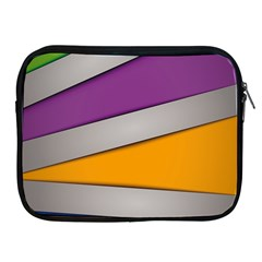 Colorful Geometry Shapes Line Green Grey Pirple Yellow Blue Apple iPad 2/3/4 Zipper Cases