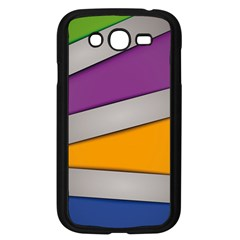 Colorful Geometry Shapes Line Green Grey Pirple Yellow Blue Samsung Galaxy Grand DUOS I9082 Case (Black)