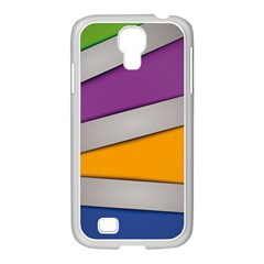 Colorful Geometry Shapes Line Green Grey Pirple Yellow Blue Samsung GALAXY S4 I9500/ I9505 Case (White)