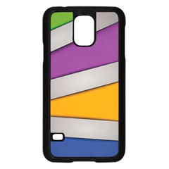 Colorful Geometry Shapes Line Green Grey Pirple Yellow Blue Samsung Galaxy S5 Case (Black)