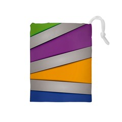 Colorful Geometry Shapes Line Green Grey Pirple Yellow Blue Drawstring Pouches (medium)