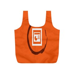 Circles Orange Full Print Recycle Bags (S)