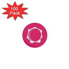 Circle White Pink 1  Mini Buttons (100 pack)